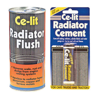 Ce Lit Car Radiator Cooling System Cleaner Flush + Cement Sealant Weld Set