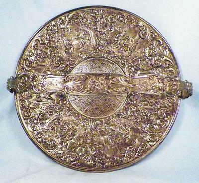 Vintage Silverplate Bride Basket Tray Bar Tavern Scenes Repousse Handle As Is