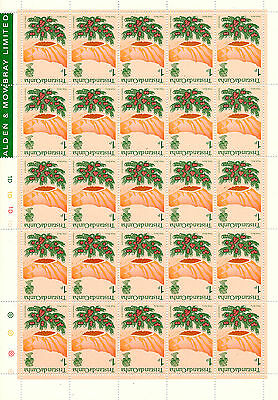 TRISTAN DA CUNHA 1972 DEFINITIVES 1p INVERTED WATERMARK COMPLETE SHEET  MNH
