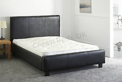 "Faux Leather Miami Upholstered Bed Frame In 6Ft"" Super Kingsize Black"