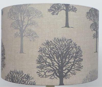 Grey  linen Trees Lampshade, Ceiling Pendant, Table Lamp