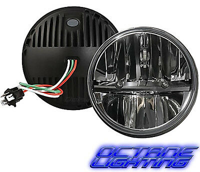 """Octane 7"""" inch Round Chrome Black Dual Low/Hi HID LED Daymaker Headlights Pair"""
