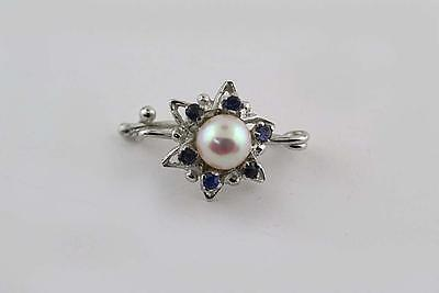 Flower Brooch Pin Genuine Sapphires and Freshwater Pearl in 14k white Gold