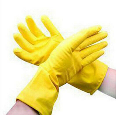Hot Yellow Rubber Waterproof Dishwashing Clean Gloves Laundry Protective Orange