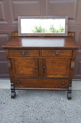 Antique Arts Crafts Tiger Oak Mirror Top Buffet Sideboard Server Cabinet Dry Bar