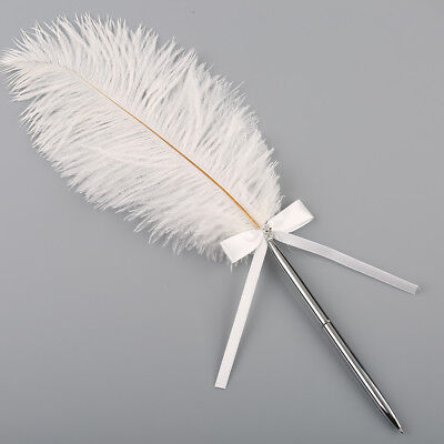 40cm Wedding Bridal White Ostrich Quill Feather Guest Signing Pen w/ Bowknot