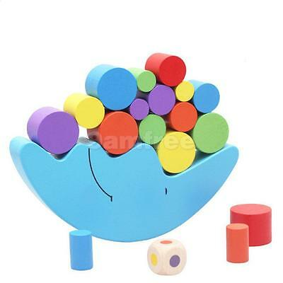 Wooden Montessori Stack Up Blocks Balance Game Kids Educational Toy - Moon