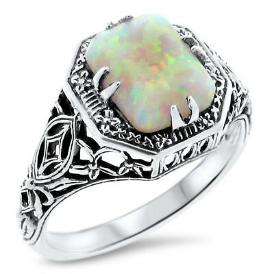 WHITE LAB OPAL ANTIQUE VICTORIAN DESIGN 925 STERLING SILVER RING SIZE 6.75 #583
