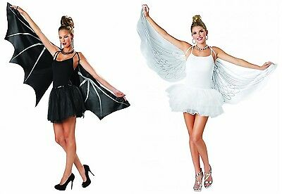 Adult size Fabric Angel or Bat Cape Wings - Costume Accessory fnt