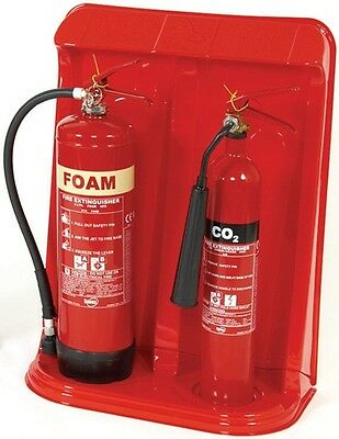 Double Fire Extinguisher Stand Red FFSFES2/R Signs & Labels New