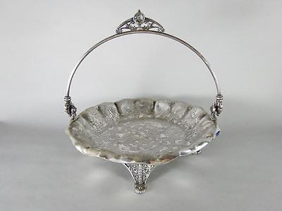 James Tufts Boston Silverplate Footed Brides Basket W/ Aesthetic Movement Design