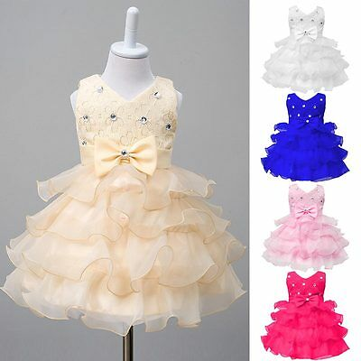 Summer Kids Baby Girl Lace Dress Tulle Tutu Princess Party Dress Clothes
