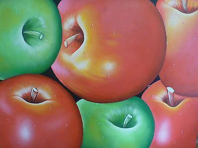 """Apple"" Still Life fruit Portrait Acrylic Painting Canvas Artwork"