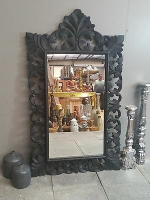 Antique Black French Provincial Carved Mirror Handmade Abstract Floral Wood