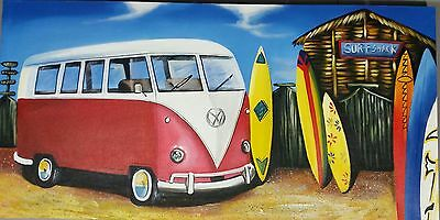 """Surf Shack"" Volkswagen Kombi Van Canvas Painting"