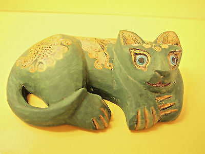 In Style of Ancient Egyptian  Goddess  VTG Wooden Handcrafted Cat Figurine
