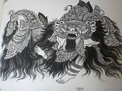 """Barong"" Mythical Lion Balinese Hindu Dance Acrylic Canvas B"