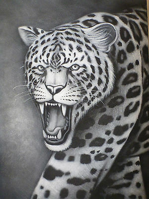 """Leopard"" Still Life Panther Cougar Acrylic Painting Canvas Artwork"