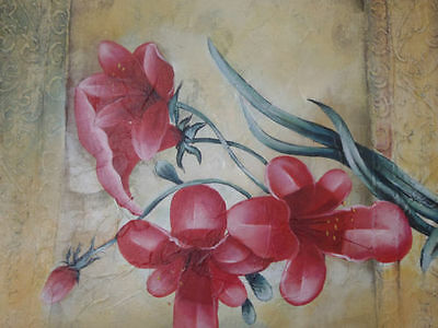 """Hibiscus"" Red Fireball flower Plant Still Life Acrylic Painting Canvas Artwork"