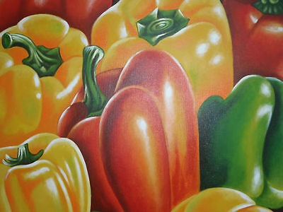 """Peppers"" Still life vegetable Acrylic Painting Canvas Artwork"