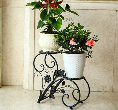 2 Tier Metal Plant Stand Flower Pot Rack Display Holder Home&Garden Patio Decor