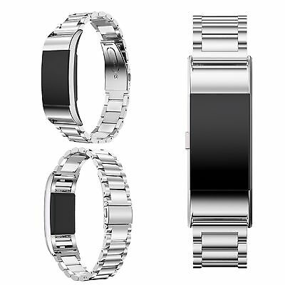 Luxury Silver Stainless Steel Metal Watch Band Wrist Strap For Fitbit Charge 2