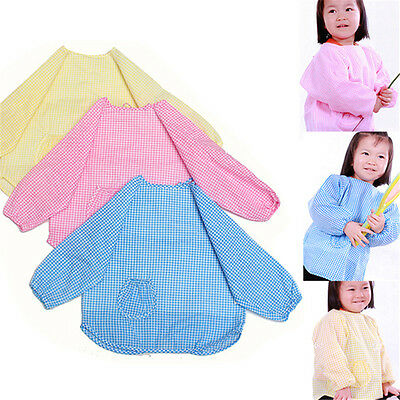 Cute Baby ToddLer Kids Children Long Sleeve Waterproof Fit Smock Bib Apron