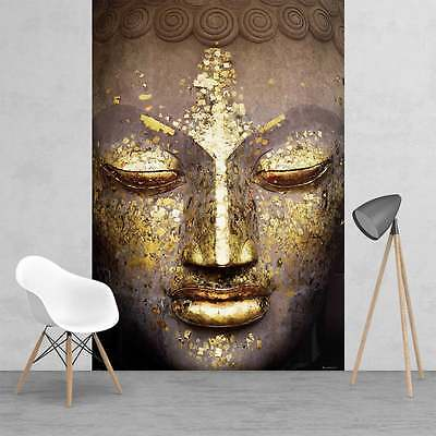 Modern Shimmering Gold Buddha Face Feature Wall Wallpaper Mural  158cm x 232cm
