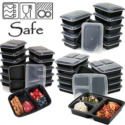 Plastic Food Containers W/lid Microwave Dishwasher Safe Storage Compartments Box