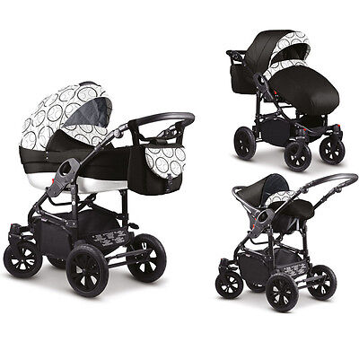 NEW Baby Pram Stroller Car seat - Pushchair 3in1 Buggy swivel wheels Poussette