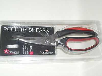 New Grunwerg Kitchen Poultry Chicken Shears Scissors Red PS-245BR