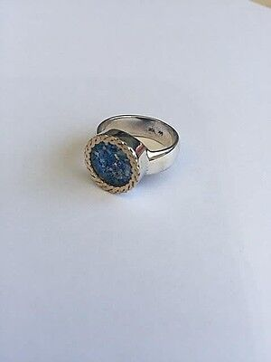 Classic Sterling Silver Gold Twisted Wire Blue Roman Glass Handmade Round Ring