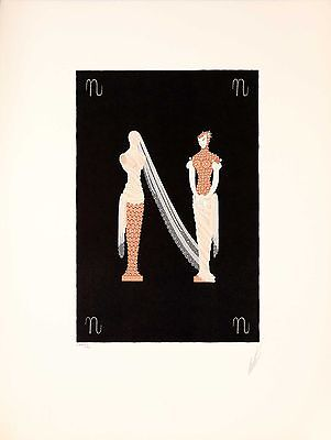 Erté - Letter N, hand-signed lithograph/serigraph
