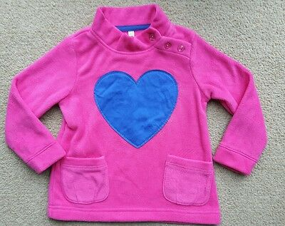 Girls NEW ex Marks & Spencer Applique Heart Fleece Sweatshirt Jumper Age 5-6