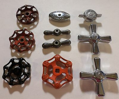 Metal Faucet Valve Handles Lot of 10 Knobs Steampunk Industrial  VINTAGE