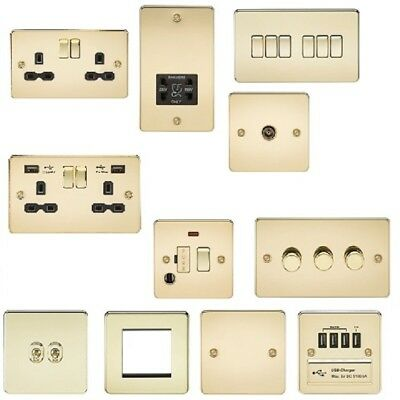 POLISHED BRASS flat plate slim socket switch toggle USB spur dimmer wiring accs