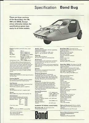 Reliant Bond Bug Range 'car Sales Brochure' Sheet 1970 Plus Price List Sheet