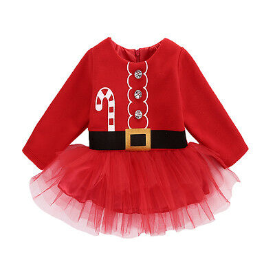 Infant Baby Girl Fleece Tops Red Santa Tulle Dress Party XMAS Outfits Costume UK