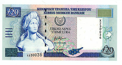 Cyprus … P-62b … 20 Pounds … 2001 … *UNC* ... REPLACEMENT
