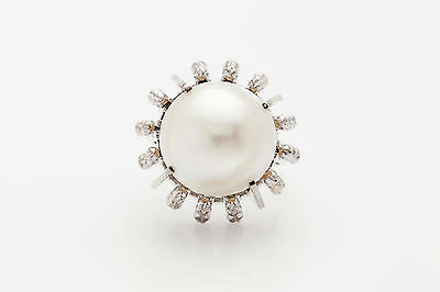 Antique 1940s RETRO Natural Mabel Pearl Platinum Cocktail Ring 13g HEAVY