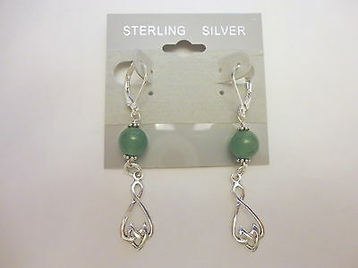 Handcrafted Celtic Drop Earrings Sterling Silver With Aventurine
