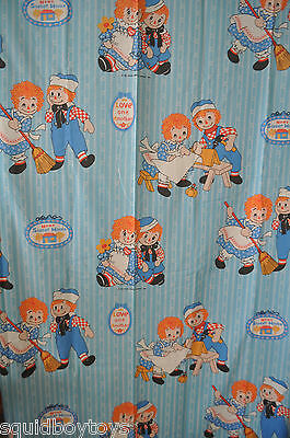- RAGGEDY ANN & ANDY vintage FLAT BED SHEET 1970s -