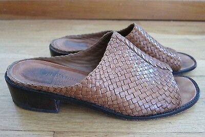 25adf958bd1ef Ann Taylor Brown Braided Leather Slip On Mule Sandal Shoe Women s Size 7.5