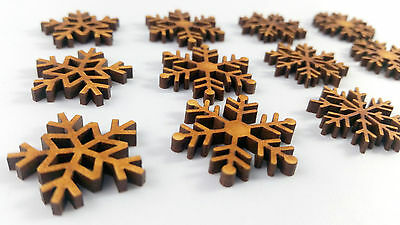 12 x Mini Wooden MDF mini Christmas Snowflake Craft Shapes Blanks 4 designs