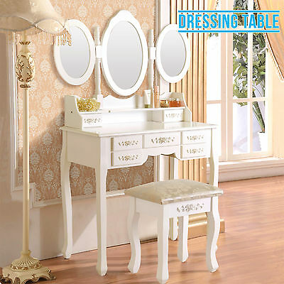 Retro White Dressing Table Vanity Makeup Desk with 7 Drawers,3 Mirrors and Stool