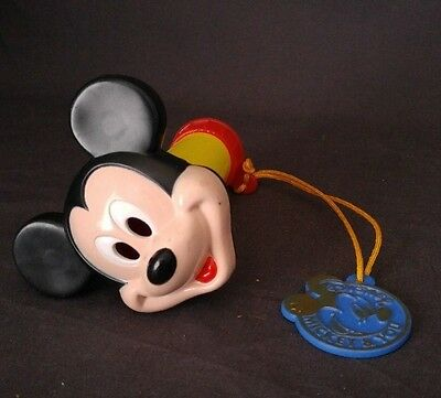 "Vintage Mickey Mouse Disney Flashlight Arco with tag holder 4 1/2"" Long"