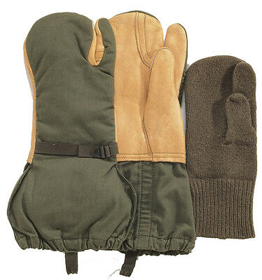 Olive Drab GI Leather Military Trigger Finger Mittens With Liner Rothco 4394