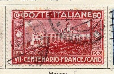 Italy 1926 St Francis Early Issue Fine Used 60c. 091359