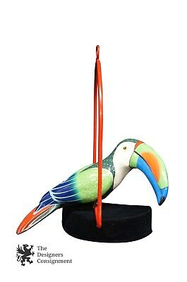 "Signed 11"" Handmade Paper Mache Toucan w Hanging Stand Tropical Bird Paradise"