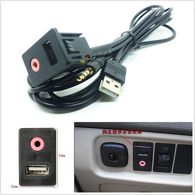 Car Boat Audio Dash Flush Mount Aux Usb 3.5Mm Jack Mounting Dashboard Dock Input